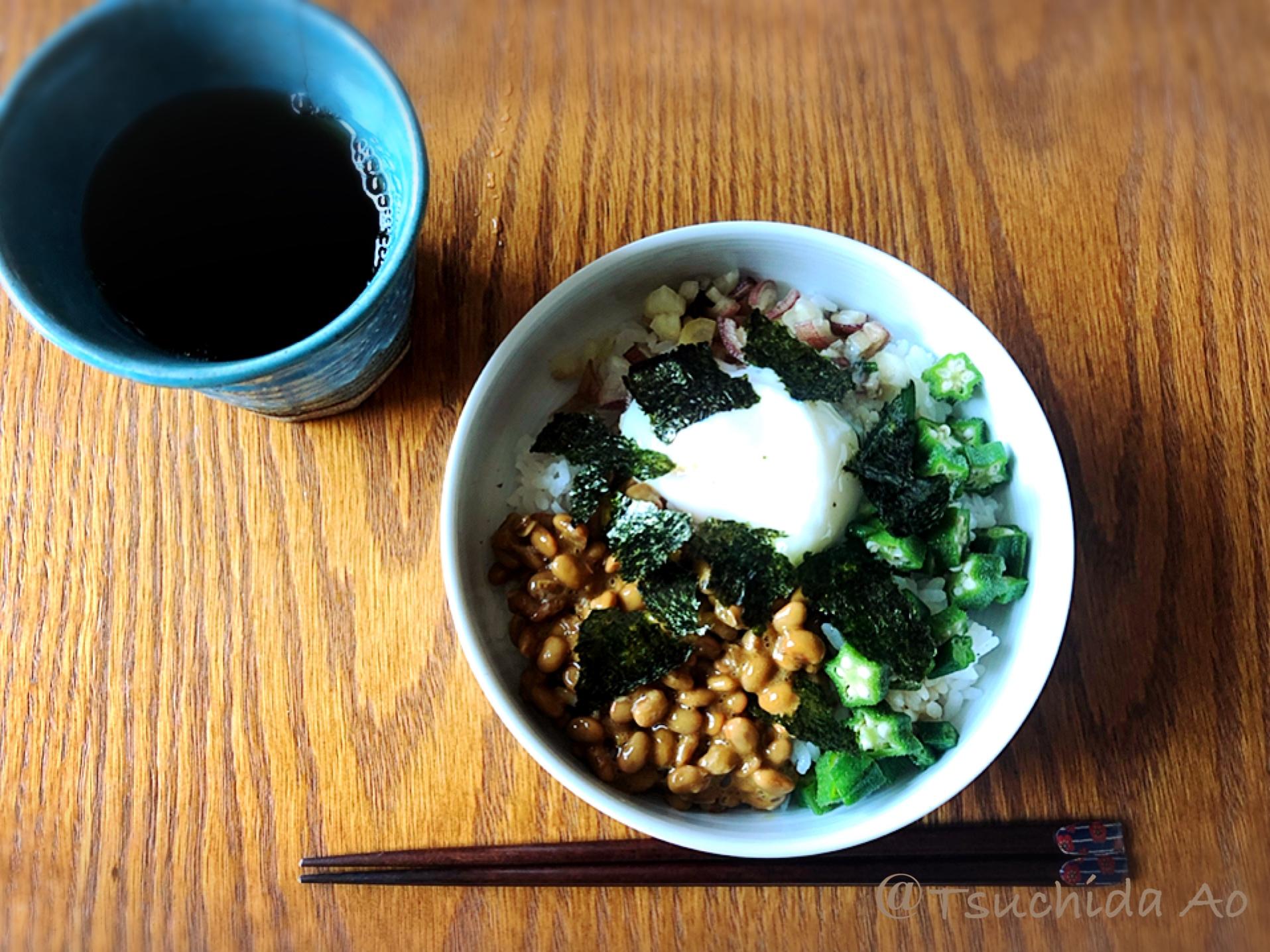 朝のアイラップ定食第10章〜オクラの麺つゆ漬けを使った納豆丼〜